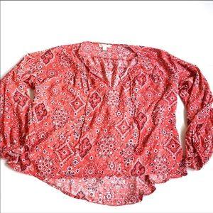 Love stitch orange pink blouse floral large